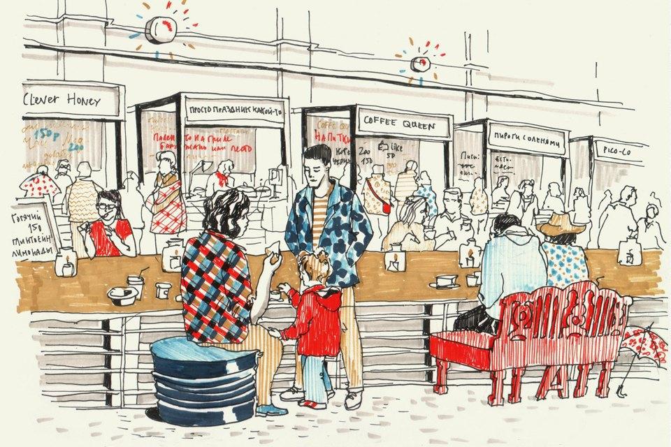 Клуб рисовальщиков: Городской маркет еды на Соколе. Изображение № 4.