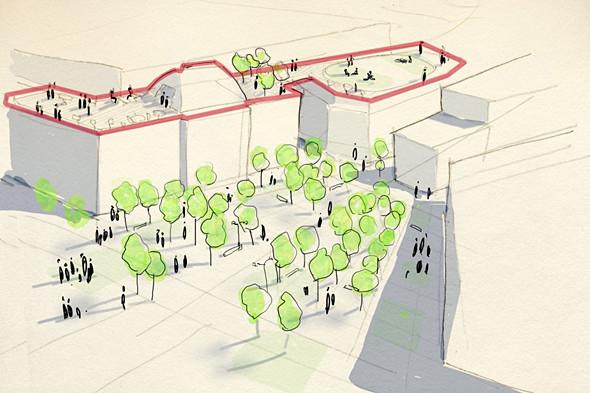 Дом № 120 по Невскому проспекту планируют соединить переходами с гостиницей «Октябрьская» и использовать их крыши в качестве рекреационных зон. Изображение № 23.