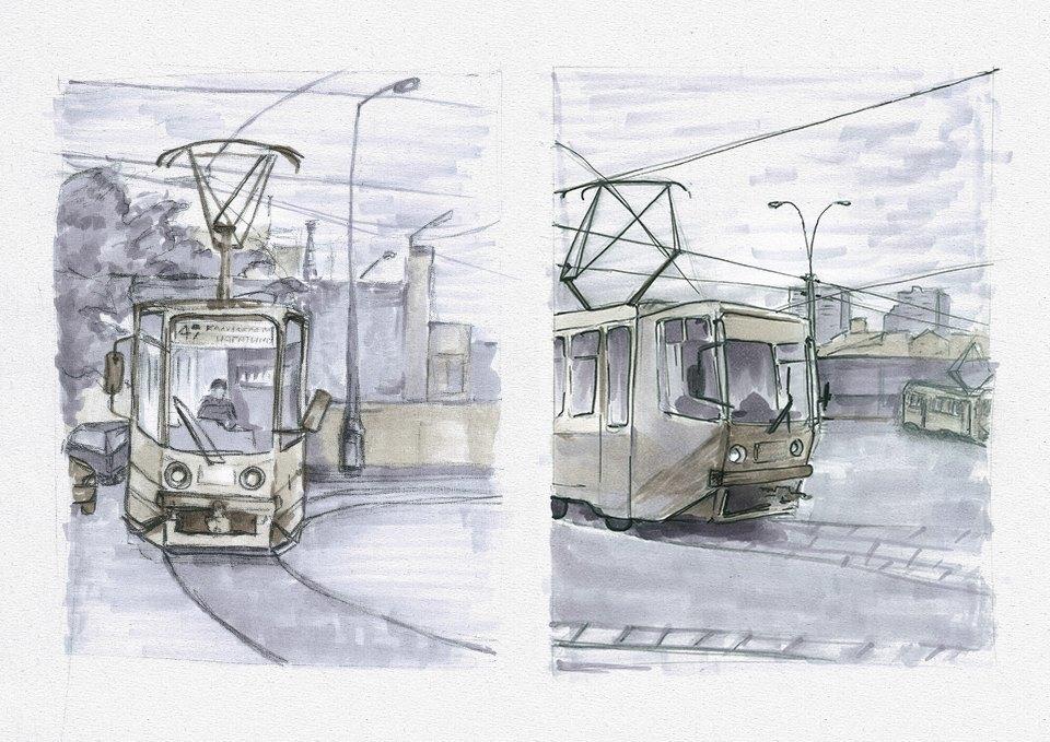 Клуб рисовальщиков: Московские трамваи. Изображение № 2.