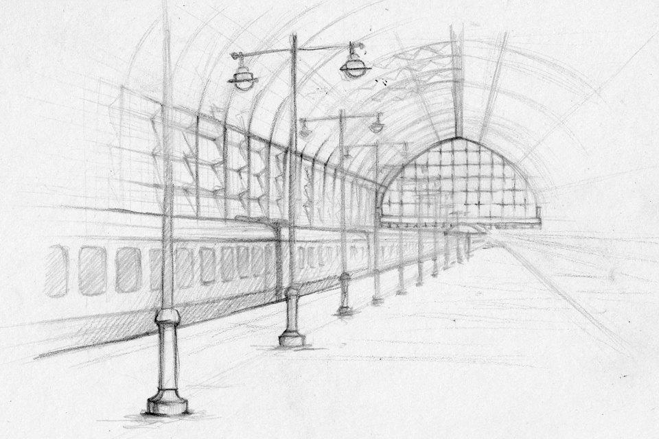 Клуб Рисовальщиков: Украинский бульвар иКиевский вокзал. Изображение № 1.