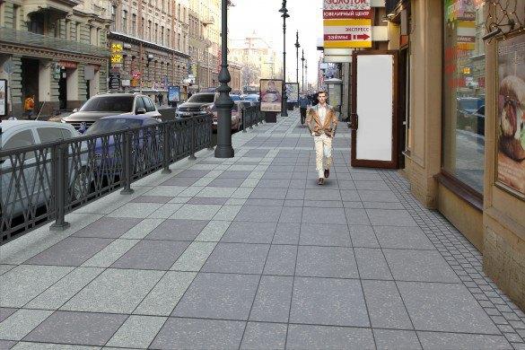 Наулице Восстания укладывают гранитные тротуары взамен бетонных. Изображение № 1.