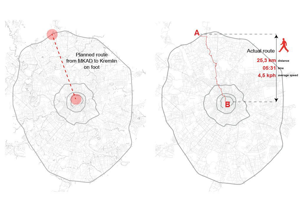Запланированный и актуальный маршруты исследования. Сабина прошла пешком 25 километров по прямой линии от Красной площади до МКАД и по пути зафиксировала все чередования общего и разграниченного дорожного пространства, а также переходы-разделы между ними.. Изображение № 41.