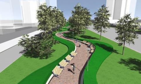 Сквер вдоль Нового Арбата превратят в волнообразную аллею. Изображение № 1.