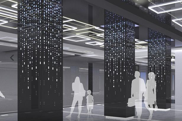 Для отделки вестибюля станции «Боровское шоссе» выбраны серые иоранжевые цвета