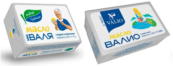 Похожили упаковки масел «Валио» и«Баба Валя»? . Изображение № 1.