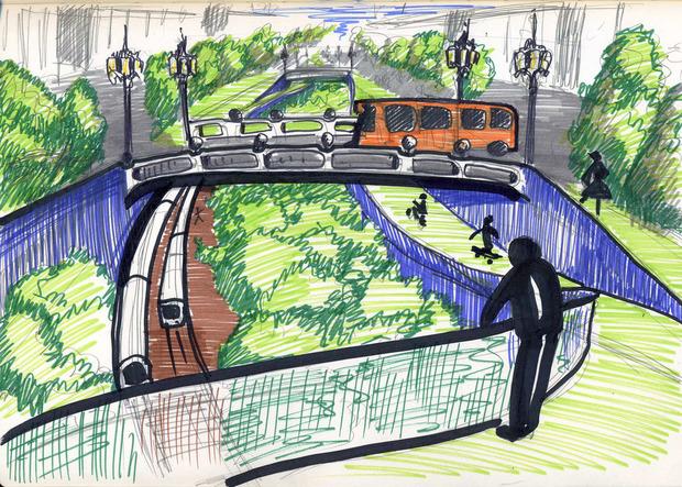 Над зарытым и озелененным каналом проложат бульвар, который будет привлекательным и для пешеходов, и для автомобилей. Изображение № 12.