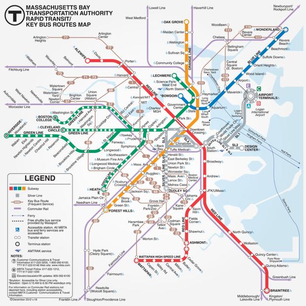 новую схему метро Бостона.
