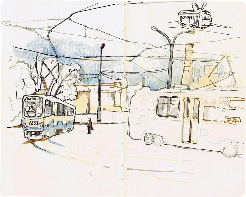 Клуб рисовальщиков: Московские трамваи. Изображение № 6.