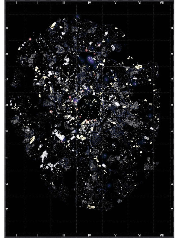 Аналог «звездного неба», где самые яркие точки — места, работающие круглосуточно, а самые темные — неиспользуемые здания. Изображение № 17.