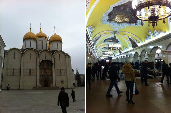 1. Больше всего меня впечатлил Успенский собор — он абсолютно перевернул мои представления об иконах. Я оказался совершенно не готов к их количеству и тому, как их интеграция в архитектурное пространство буквально создавала эффект божественного присутствия. 2. Бесспорно, в Москве самая красивая подземка на свете. Это действительно храмы для народа.. Изображение № 10.