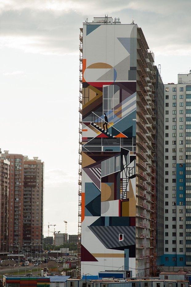 Художники расписали стену 24-этажного дома вПриморском районе. Изображение № 6.