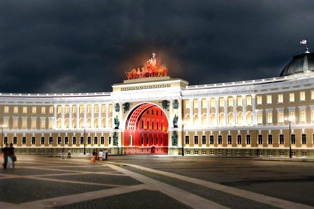 На ночь глядя: 12 проектов подсветки Главного штаба. Изображение № 80.