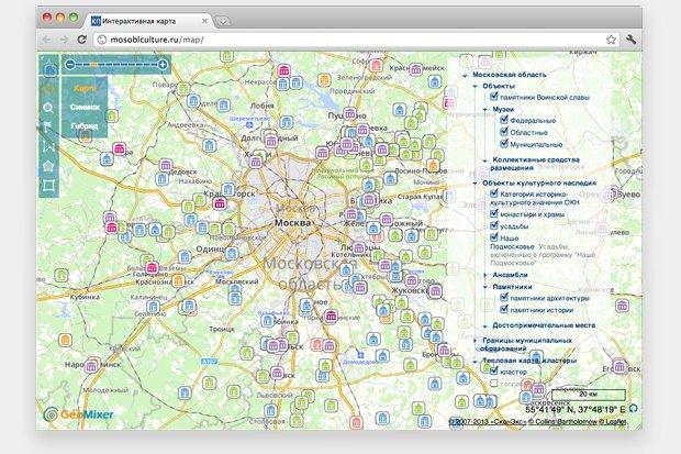 Памятники Подмосковья разместили на интерактивной карте. Изображение №1.