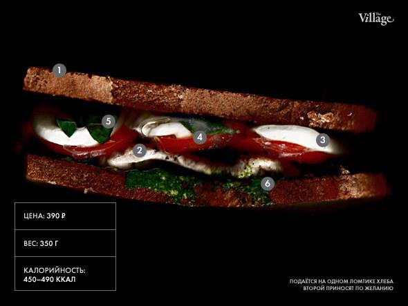 Изображение 19. Составные части: Cэндвич с курицей и моцареллой из Friends Forever.. Изображение № 1.