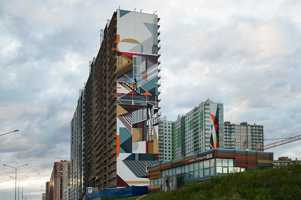 Художники расписали стену 24-этажного дома вПриморском районе. Изображение № 1.
