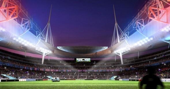 Вид изнутри стадиона на поле с ночной подсветкой. Изображение № 17.