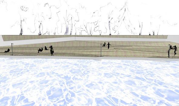 Изображение 9. В парке Горького начали строить деревянный пляж.. Изображение № 10.