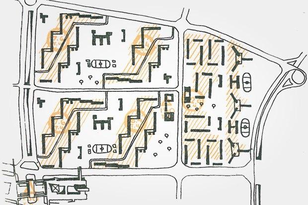 Схема расположения жилых зданий в Беляеве. Изображение № 18.