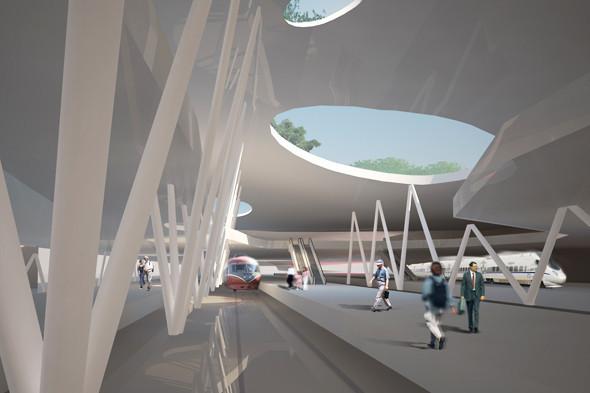 Поезда прибывают на первый уровень. Здесь же находятся бетонные опоры для крыши, а световые отверстия служат дополнительным источником света.. Изображение № 5.