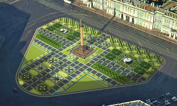 Летом наДворцовой площади разобьют цветник. Изображение № 1.