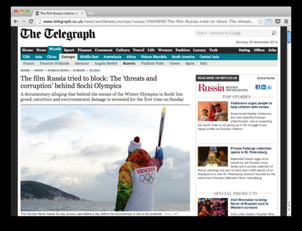 Ссылки дня: Правда о сочинской Олимпиаде, гибель Брайана Гриффина и интервью с Песковым. Изображение № 4.