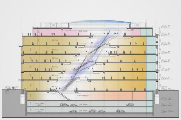 Проект здания обновленного ЦУМа в продольном разрезе. Изображение № 4.