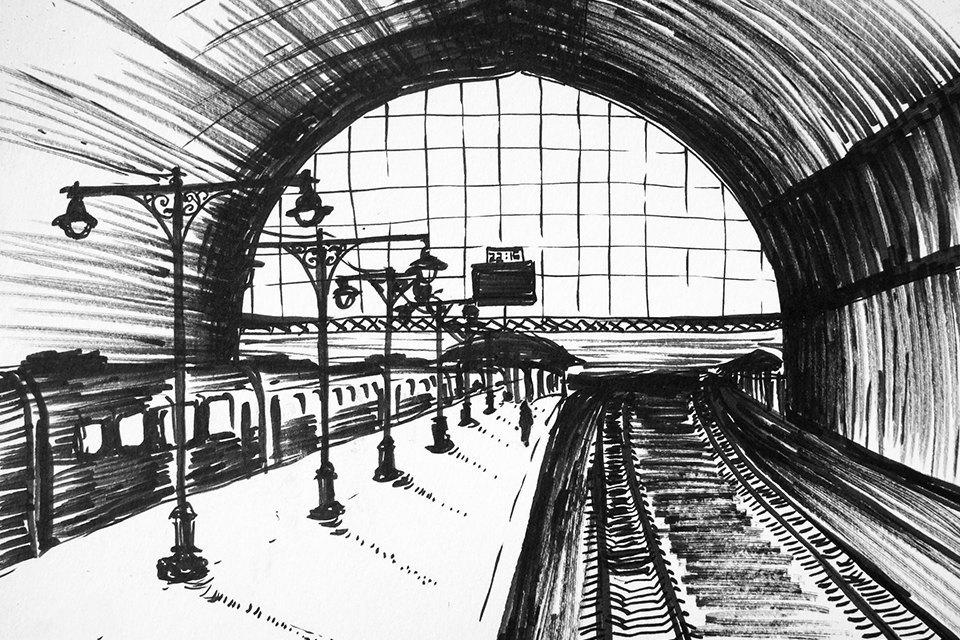 Клуб Рисовальщиков: Украинский бульвар иКиевский вокзал. Изображение № 7.