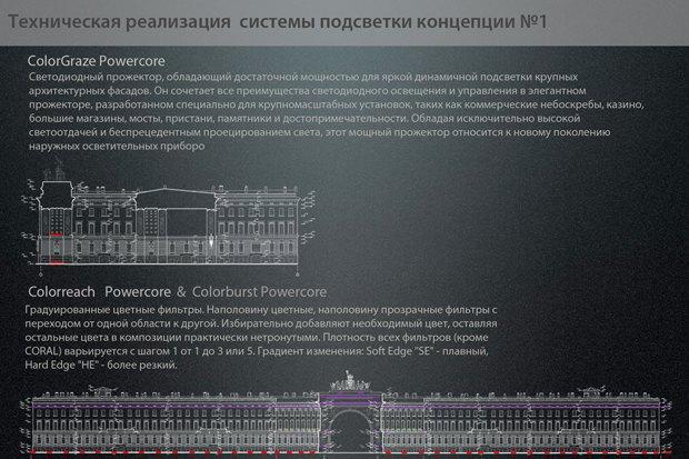 На ночь глядя: 12 проектов подсветки Главного штаба. Изображение № 13.