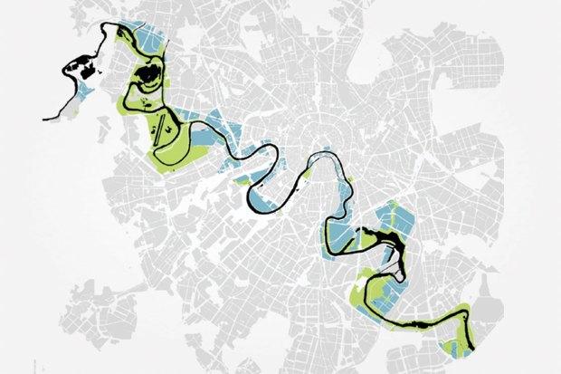 Территории, подлежащие комплексному преобразованию (зеленым — где будут созданы парковые зоны; синим — застроенные территории). Изображение № 4.