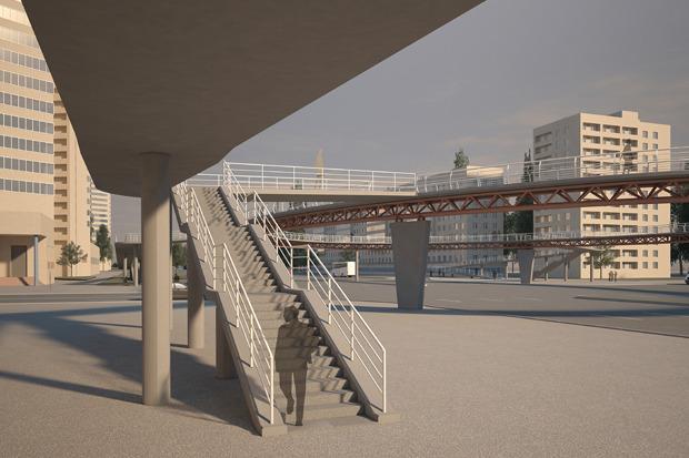 Надземный пешеходный переход на пересечении проспекта Славы и Будапештской улицы. Изображение № 2.
