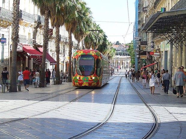 Трамвайно-пешеходная улица в Монпелье. В Европе используются трамваи, но по Невскому более реально пустить троллейбусы. Изображение № 2.