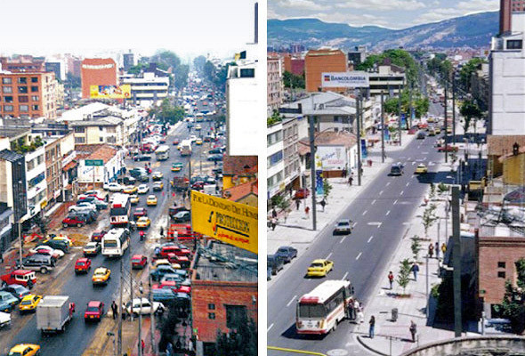 Одна из улиц Боготы до и после запрета на парковку в пешеходной зоне.. Изображение №5.