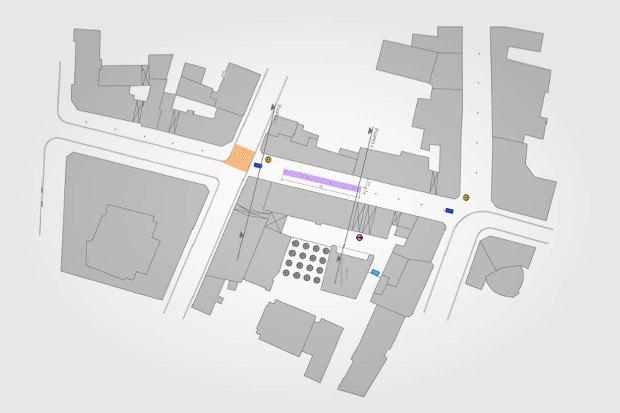 План Рождественки, фиолетовый — ярмарочная зона, синий — мобильная торговля. Жёлтые кружки — инфомедиастенды. Изображение № 3.