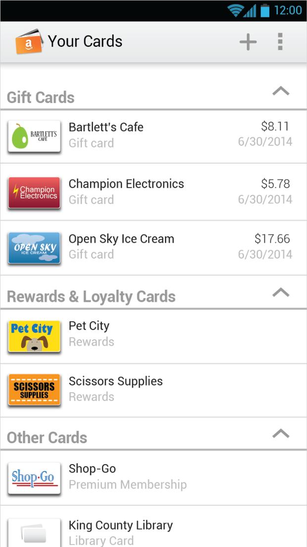 Amazon выпустил мобильный кошелёк для подарочных карт. Изображение № 1.