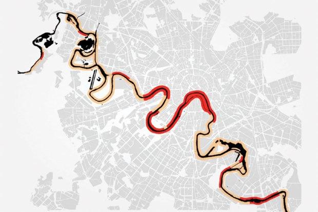 Обустройство набережных для пешеходов (красным — участки, сейчас доступные для пешеходов; бежевым — недоступные. Изображение № 5.