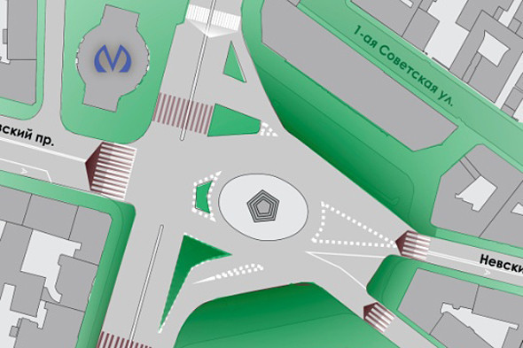 Краткосрочный проект улучшения пешеходной ситуации на площади: расширение и перенос пешеходных переходов ближе к площади, создание островков безопасности. Изображение № 24.