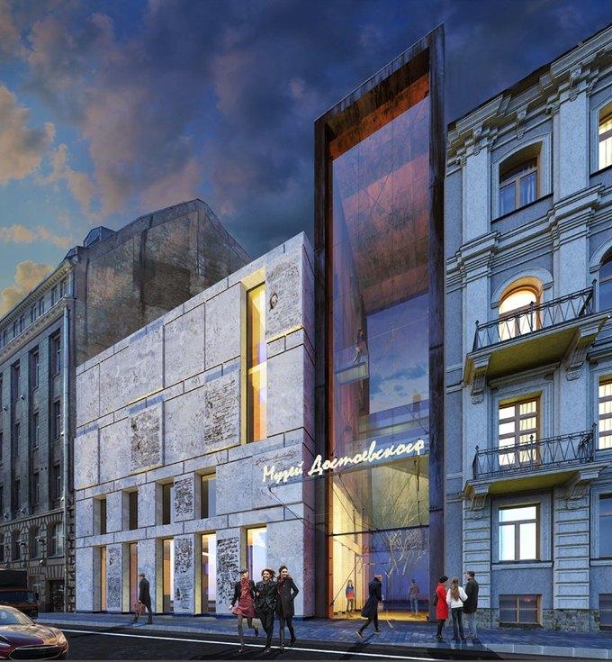 Появился проект современной пристройки для музея Достоевского. Изображение № 1.