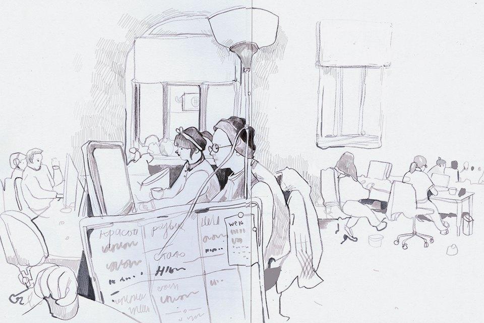 Московские офисы врисунках Лизы Смирновой. Изображение № 12.