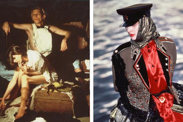 Слева: моды сквота на Петровском бульваре. Фотография Л. Огарева, 1991 год. Справа: модель Екатерины Филипповой из коллекции конца 80-х, фото В. Евтимеева и В. Костичева. Изображение № 3.