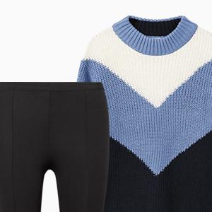 Комбо: Объёмный свитер c брюками со штрипками — Стиль на Wonderzine