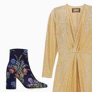 Комбо: Нарядное платье с ботильонами — Стиль на Wonderzine