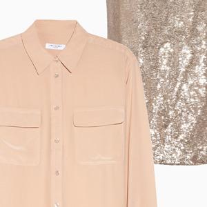 Комбо: Юбка в пайетках с рубашкой — Стиль на Wonderzine