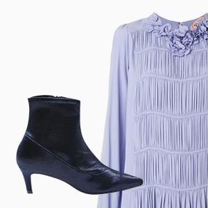 Комбо: Нарядное платье с остроносыми ботильонами — Стиль на Wonderzine