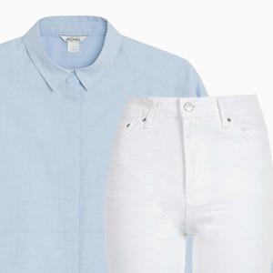 Комбо: Рубашка с белыми джинсами