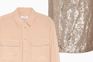 Комбо: Юбка в пайетках с рубашкой