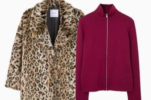 Комбо: Леопардовая шуба с трикотажным свитером