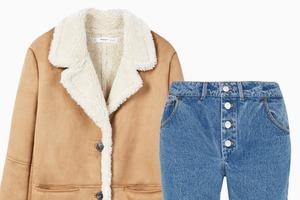 Комбо: Дублёнка c укороченными джинсами