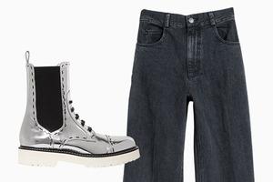 Комбо: Брюки с грубыми ботинками