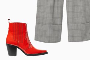 Комбо: Широкие брюки с казаками
