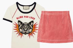 Комбо: Псевдовинтажная футболка с мини-юбкой